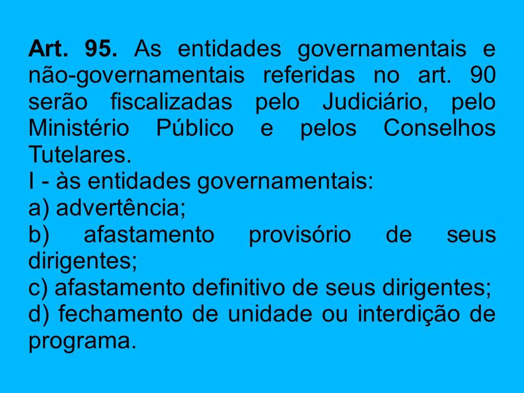 Art. 95. As entidades governamentais e não-governamentais referidas no art. 90 serão fiscalizadas pelo Judiciário, pelo Ministério Público e pelos Conselhos Tutelares.