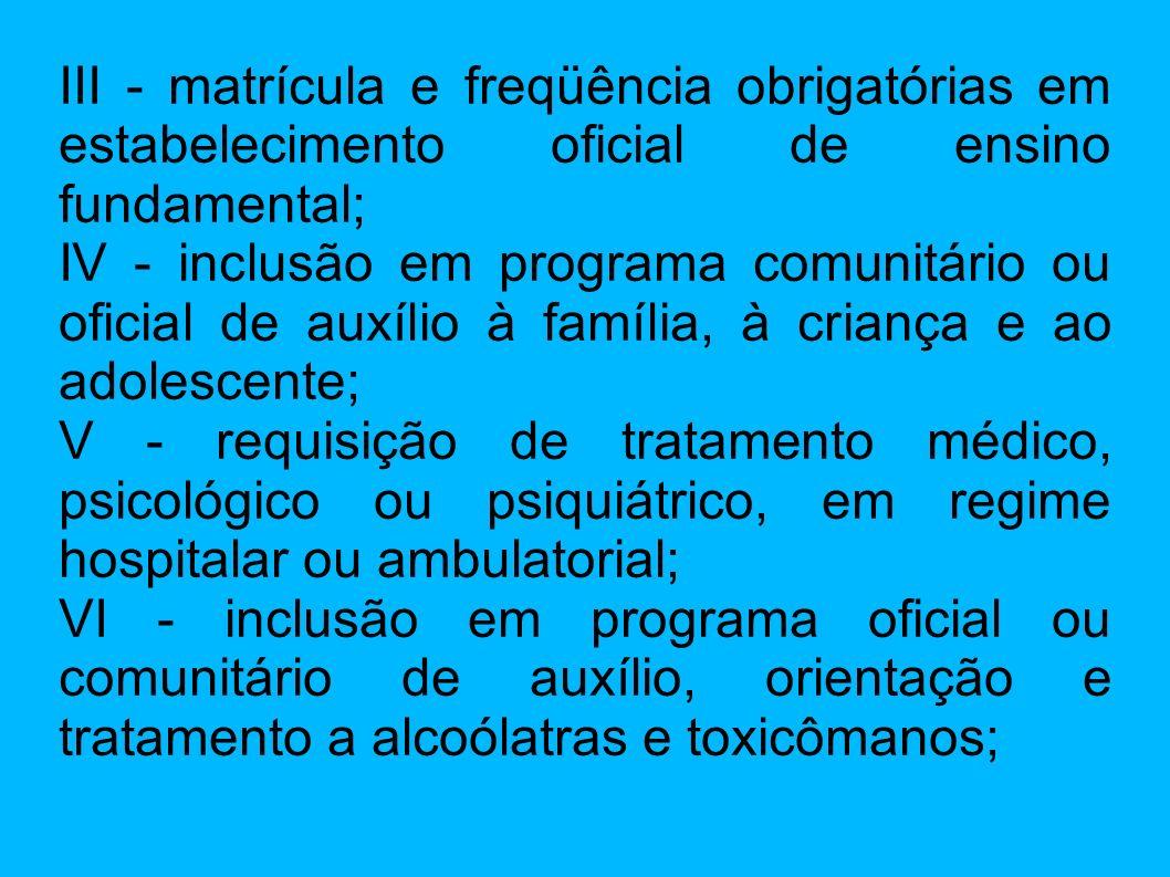 III - matrícula e freqüência obrigatórias em estabelecimento oficial de ensino fundamental;