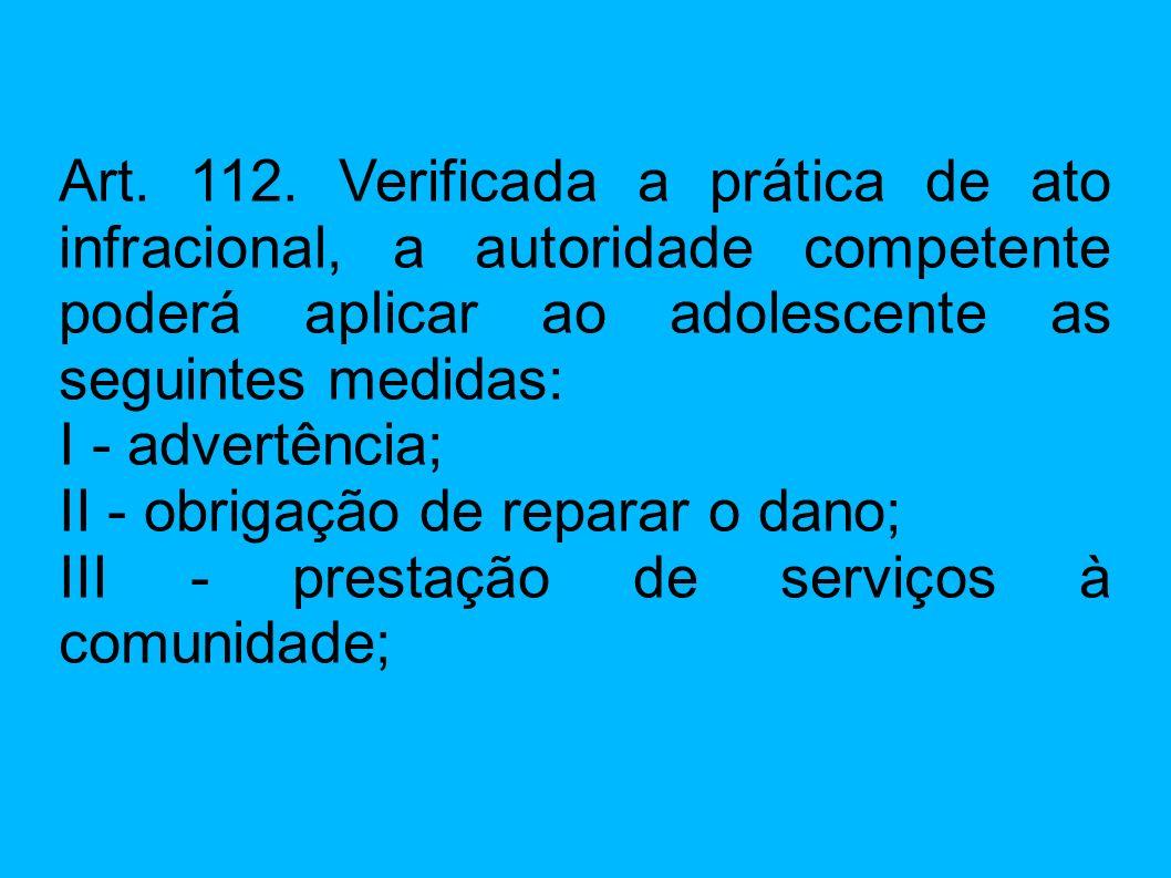 Art. 112. Verificada a prática de ato infracional, a autoridade competente poderá aplicar ao adolescente as seguintes medidas: