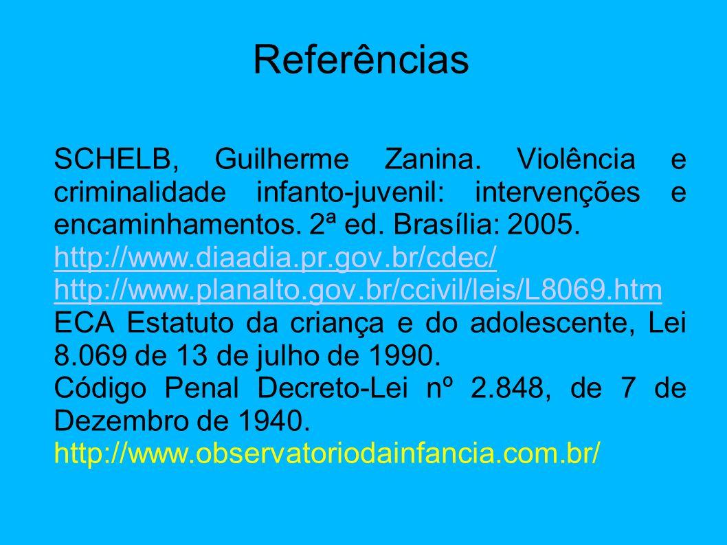 Referências SCHELB, Guilherme Zanina. Violência e criminalidade infanto-juvenil: intervenções e encaminhamentos. 2ª ed. Brasília: 2005.