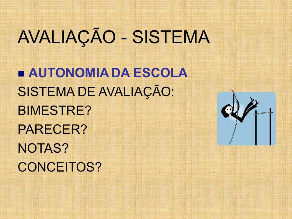 AVALIAÇÃO - SISTEMA AUTONOMIA DA ESCOLA SISTEMA DE AVALIAÇÃO: