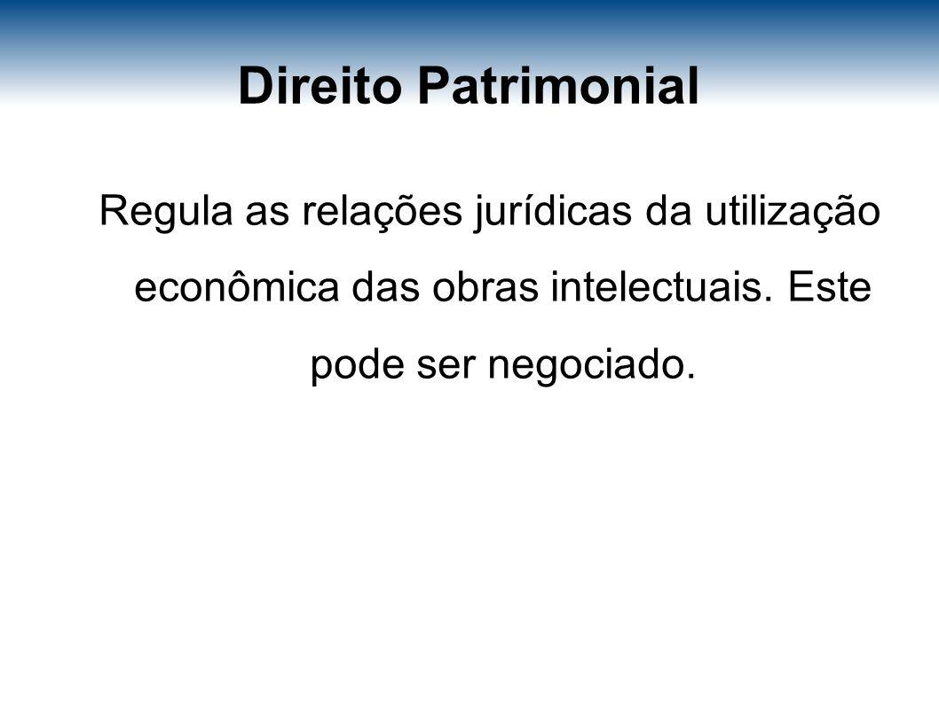 Direito Patrimonial Regula as relações jurídicas da utilização econômica das obras intelectuais.