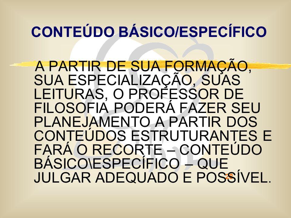 CONTEÚDO BÁSICO/ESPECÍFICO