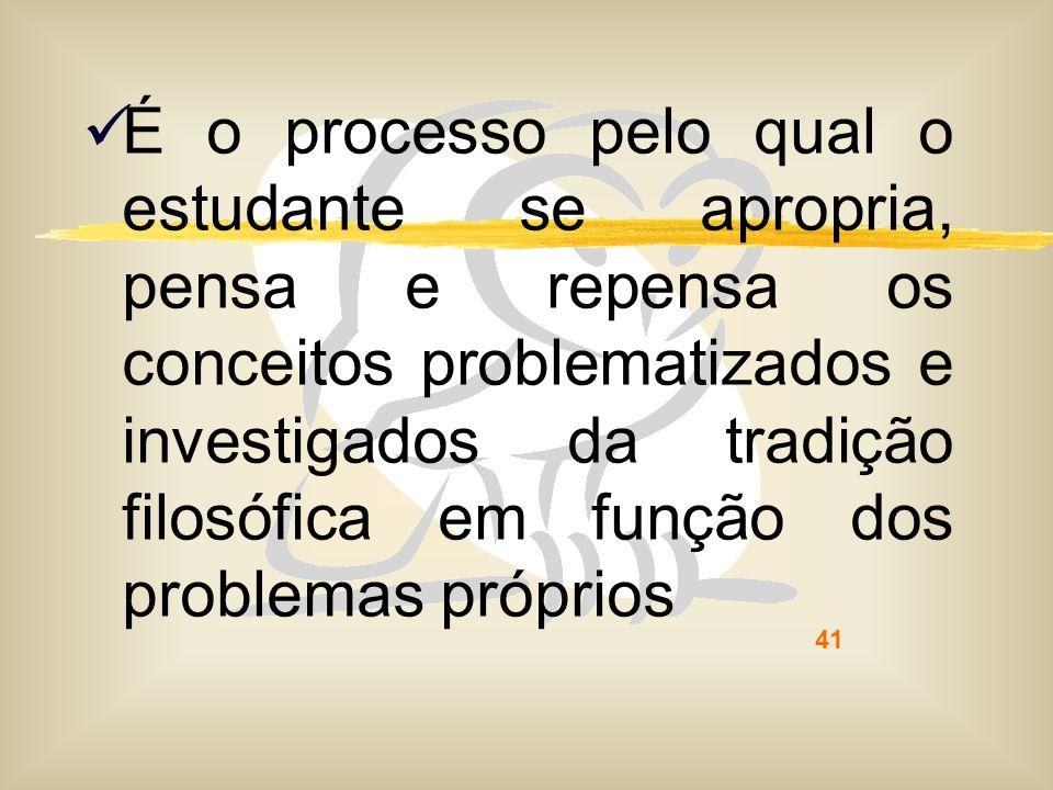 É o processo pelo qual o estudante se apropria, pensa e repensa os conceitos problematizados e investigados da tradição filosófica em função dos problemas próprios