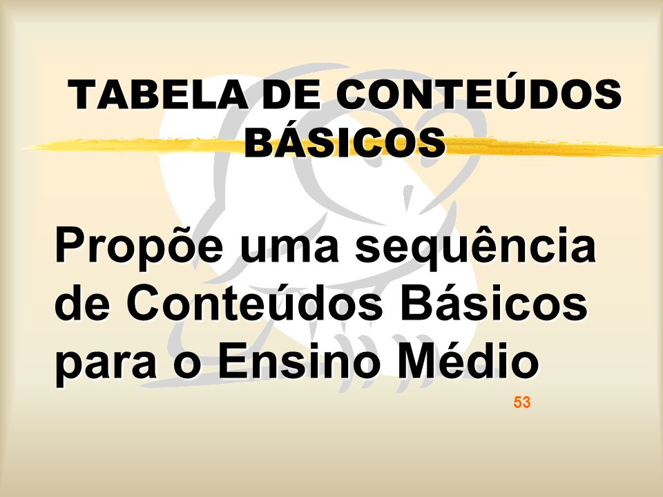 TABELA DE CONTEÚDOS BÁSICOS