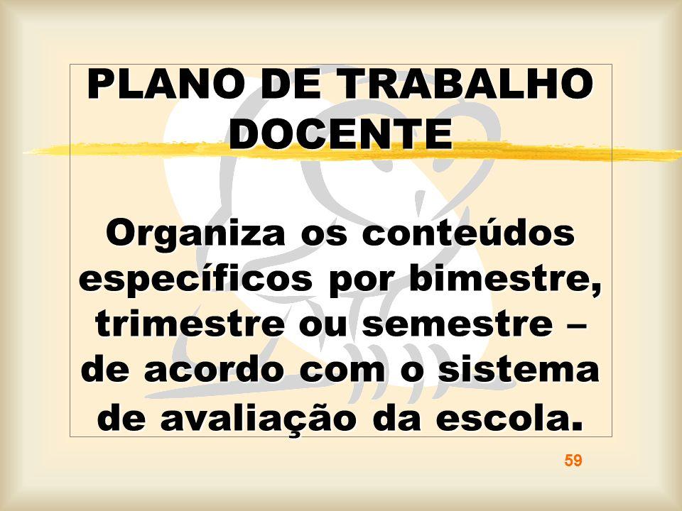 PLANO DE TRABALHO DOCENTE Organiza os conteúdos específicos por bimestre, trimestre ou semestre – de acordo com o sistema de avaliação da escola.