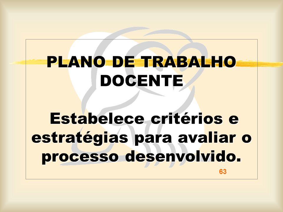 PLANO DE TRABALHO DOCENTE Estabelece critérios e estratégias para avaliar o processo desenvolvido.