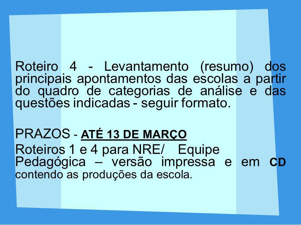 Roteiro 4 - Levantamento (resumo) dos principais apontamentos das escolas a partir do quadro de categorias de análise e das questões indicadas - seguir formato.
