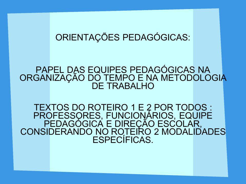 ORIENTAÇÕES PEDAGÓGICAS: