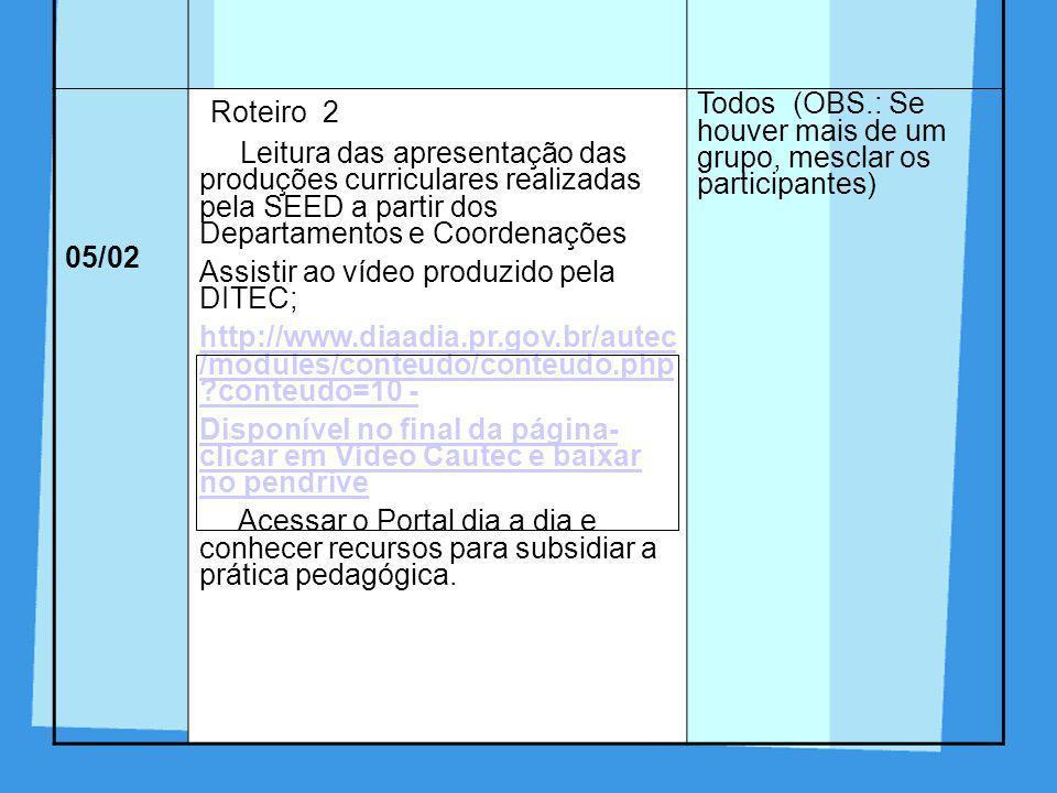 Roteiro 2 DIA ROTEIRO PARTICIPANTES 05/02