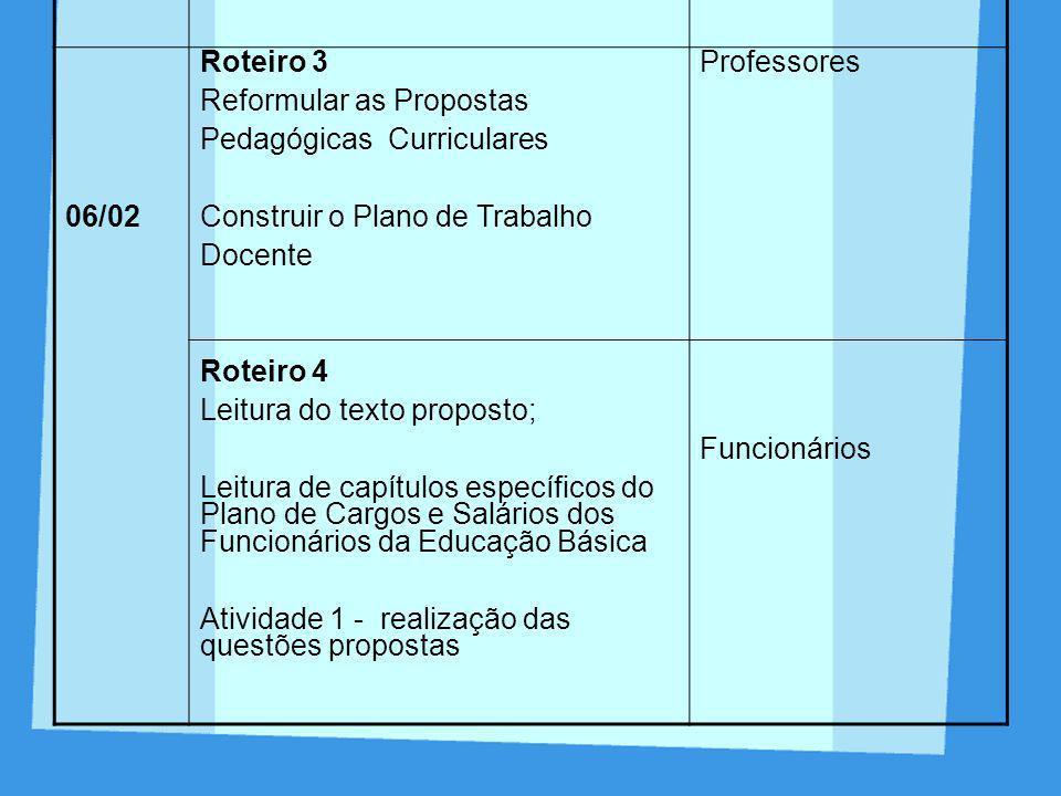 DIA ROTEIRO. PARTICIPANTES. 06/02. Roteiro 3. Reformular as Propostas. Pedagógicas Curriculares.