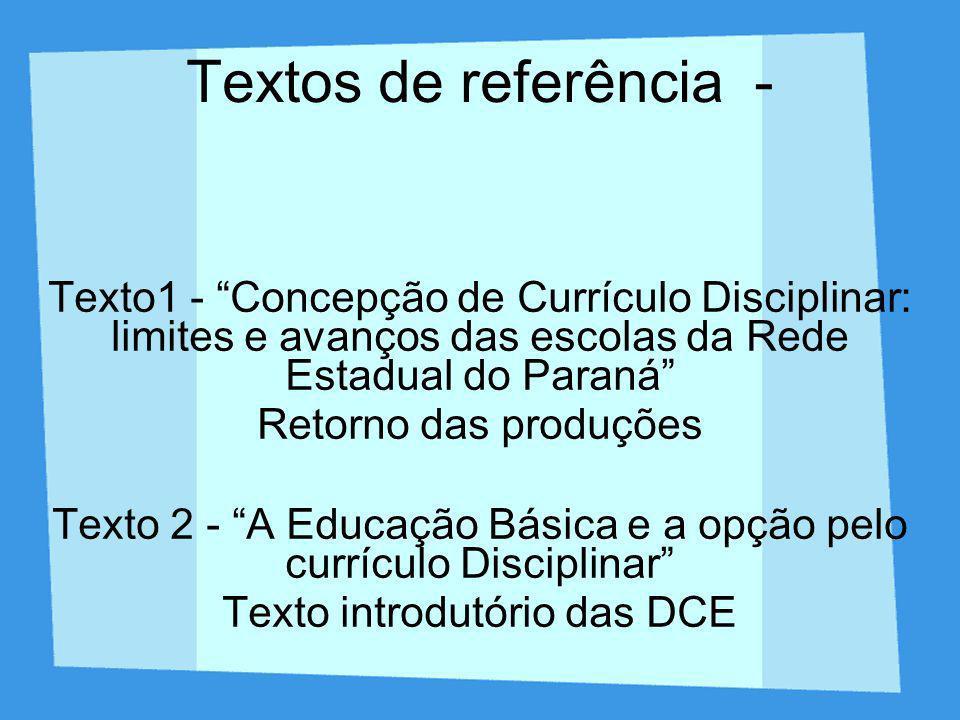 Textos de referência - Texto1 - Concepção de Currículo Disciplinar: limites e avanços das escolas da Rede Estadual do Paraná