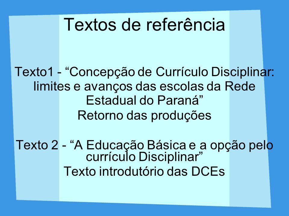 Textos de referência Texto1 - Concepção de Currículo Disciplinar: limites e avanços das escolas da Rede Estadual do Paraná