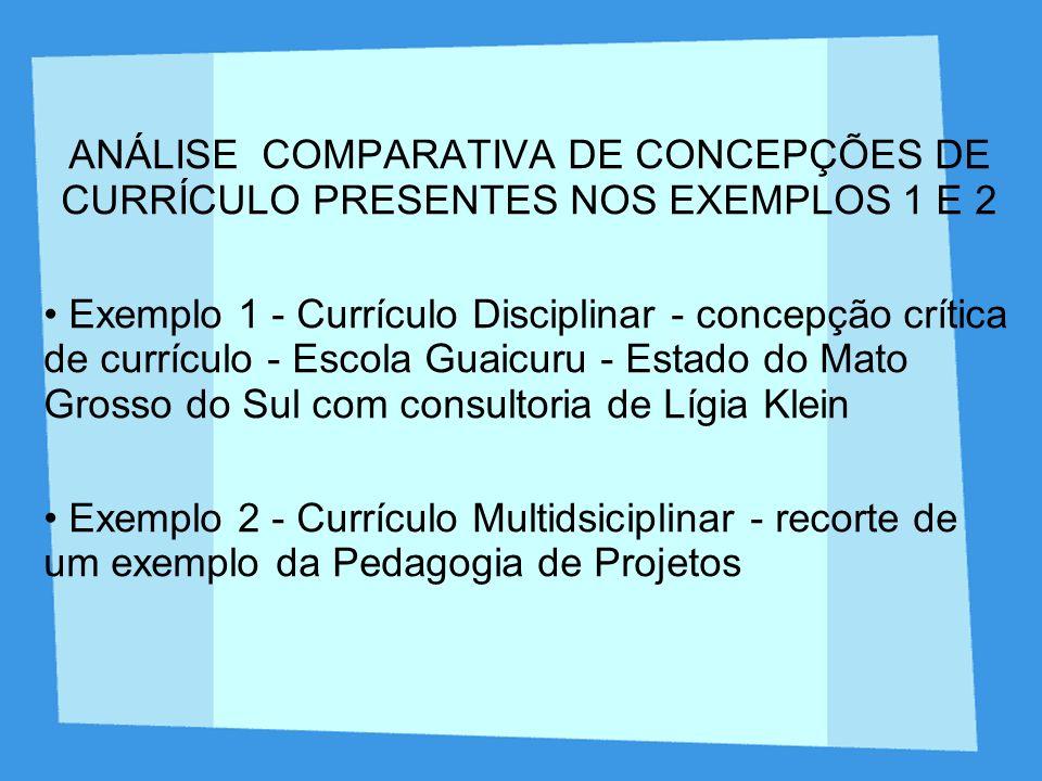 ANÁLISE COMPARATIVA DE CONCEPÇÕES DE CURRÍCULO PRESENTES NOS EXEMPLOS 1 E 2