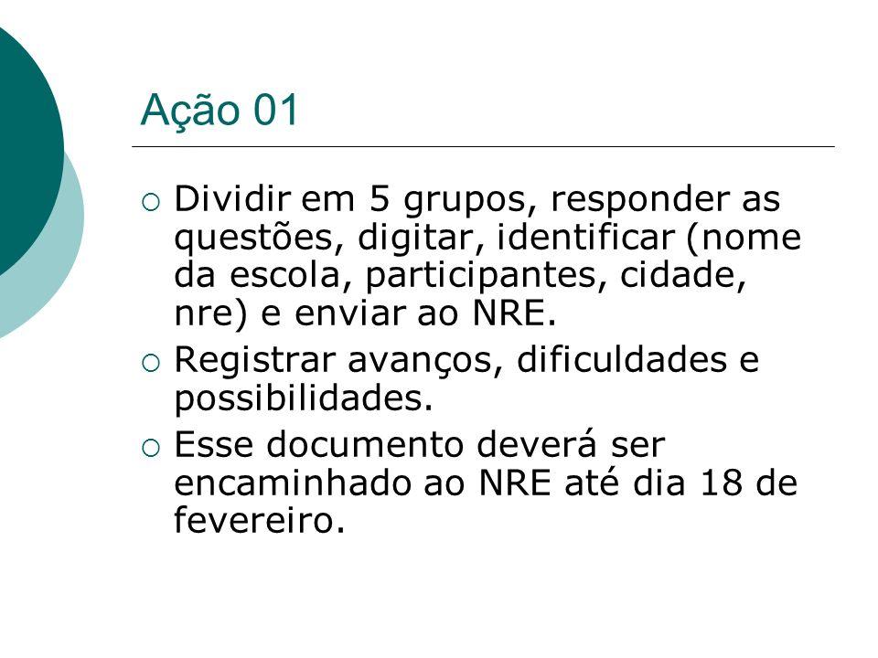 Ação 01Dividir em 5 grupos, responder as questões, digitar, identificar (nome da escola, participantes, cidade, nre) e enviar ao NRE.