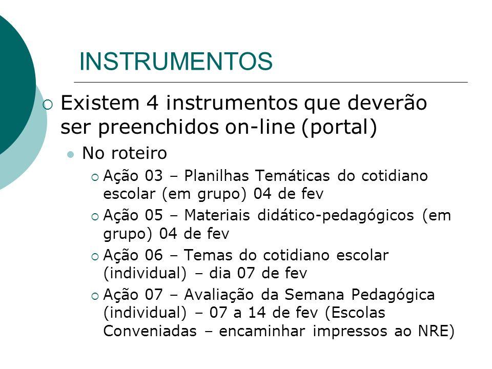 INSTRUMENTOSExistem 4 instrumentos que deverão ser preenchidos on-line (portal) No roteiro.
