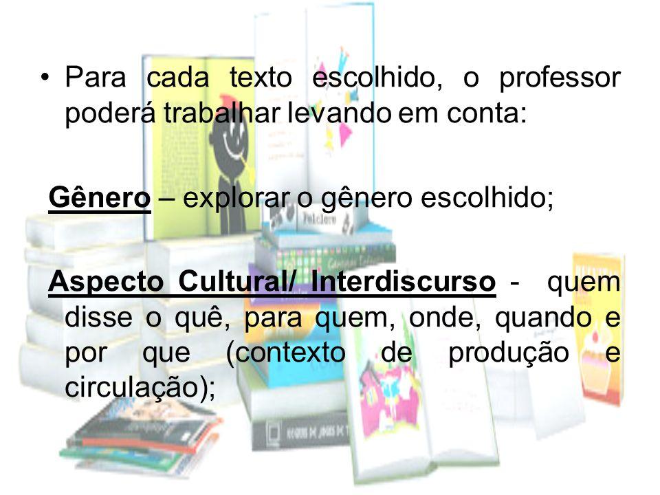 Para cada texto escolhido, o professor poderá trabalhar levando em conta: