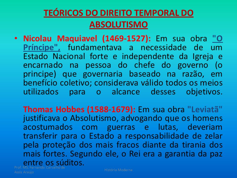 TEÓRICOS DO DIREITO TEMPORAL DO ABSOLUTISMO
