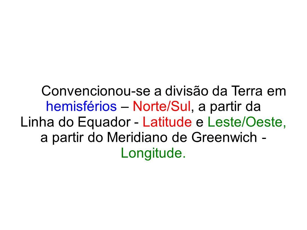 Convencionou-se a divisão da Terra em hemisférios – Norte/Sul, a partir da