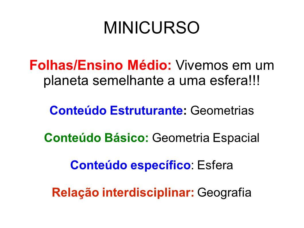 MINICURSO Folhas/Ensino Médio: Vivemos em um planeta semelhante a uma esfera!!! Conteúdo Estruturante: Geometrias.