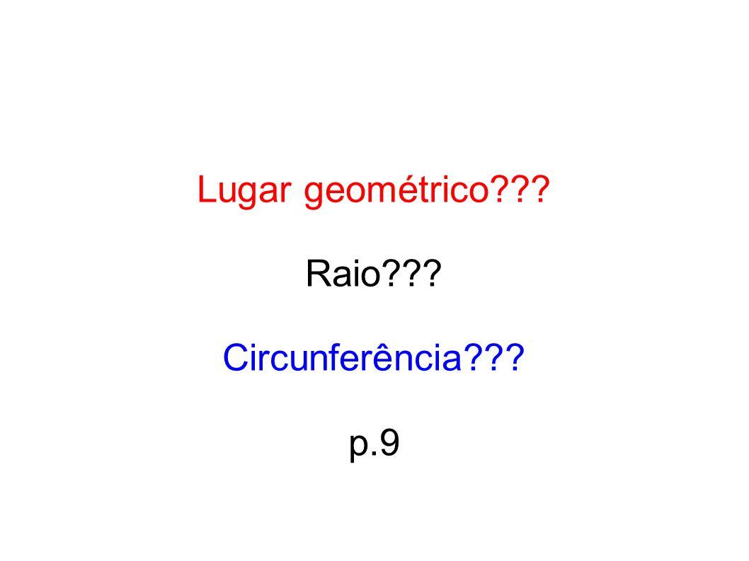 Lugar geométrico Raio Circunferência p.9 29 29