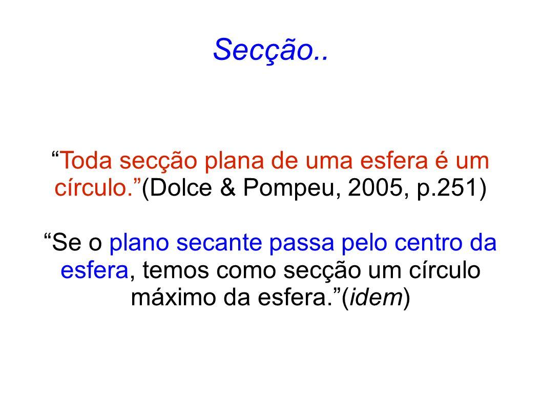 Secção.. Toda secção plana de uma esfera é um círculo. (Dolce & Pompeu, 2005, p.251)
