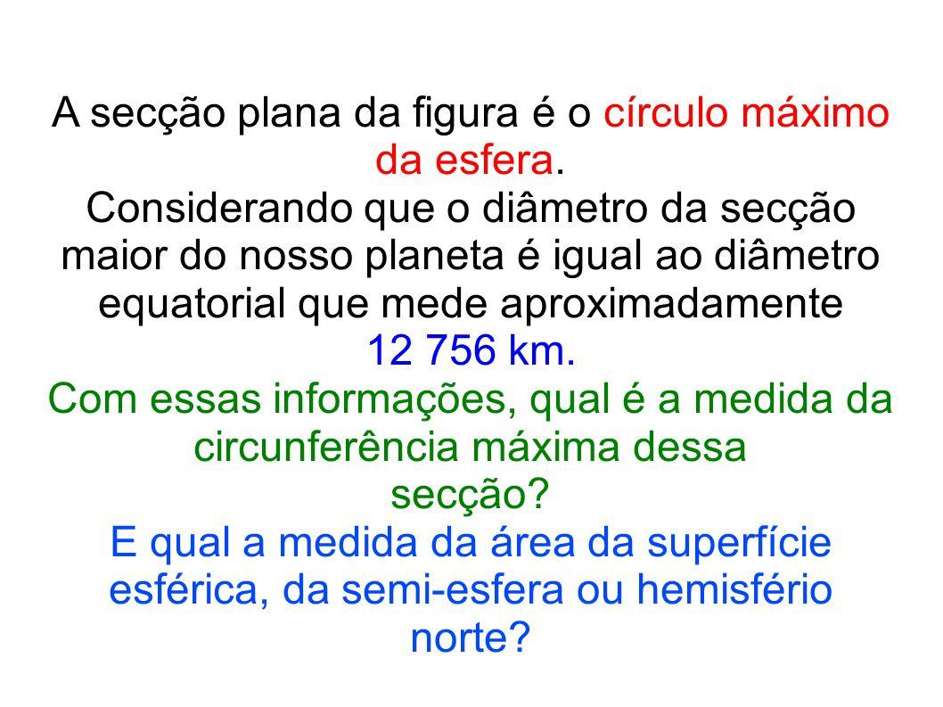 A secção plana da figura é o círculo máximo da esfera.