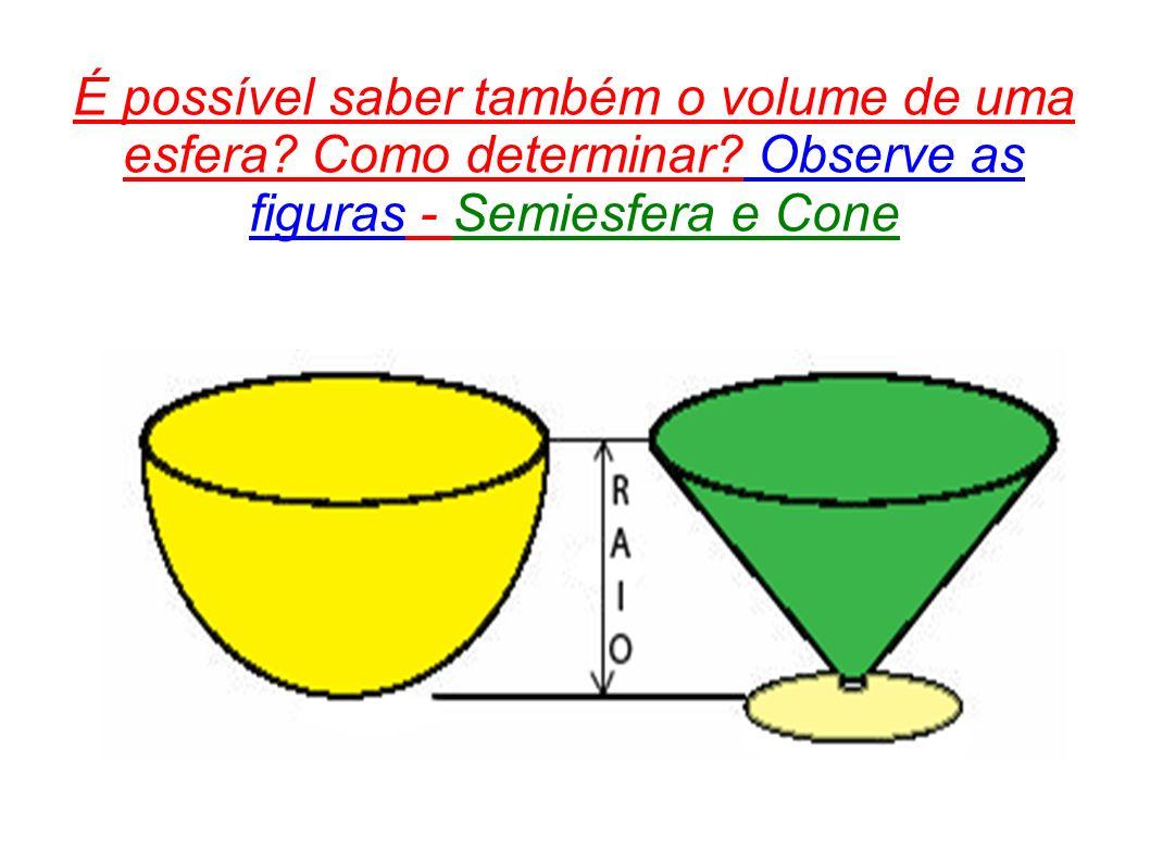 É possível saber também o volume de uma esfera. Como determinar
