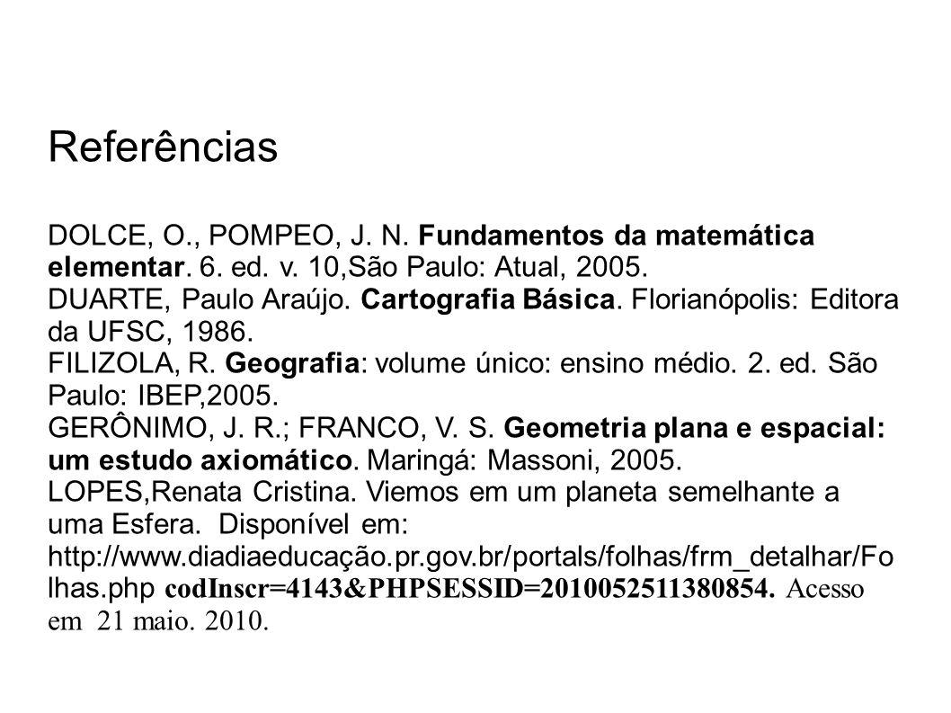 Referências DOLCE, O., POMPEO, J. N. Fundamentos da matemática elementar. 6. ed. v. 10,São Paulo: Atual, 2005.