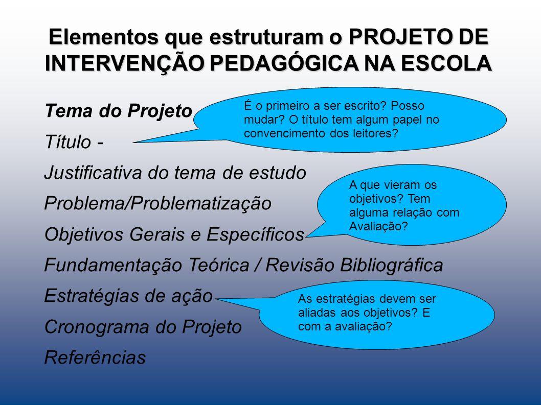 Elementos que estruturam o PROJETO DE INTERVENÇÃO PEDAGÓGICA NA ESCOLA