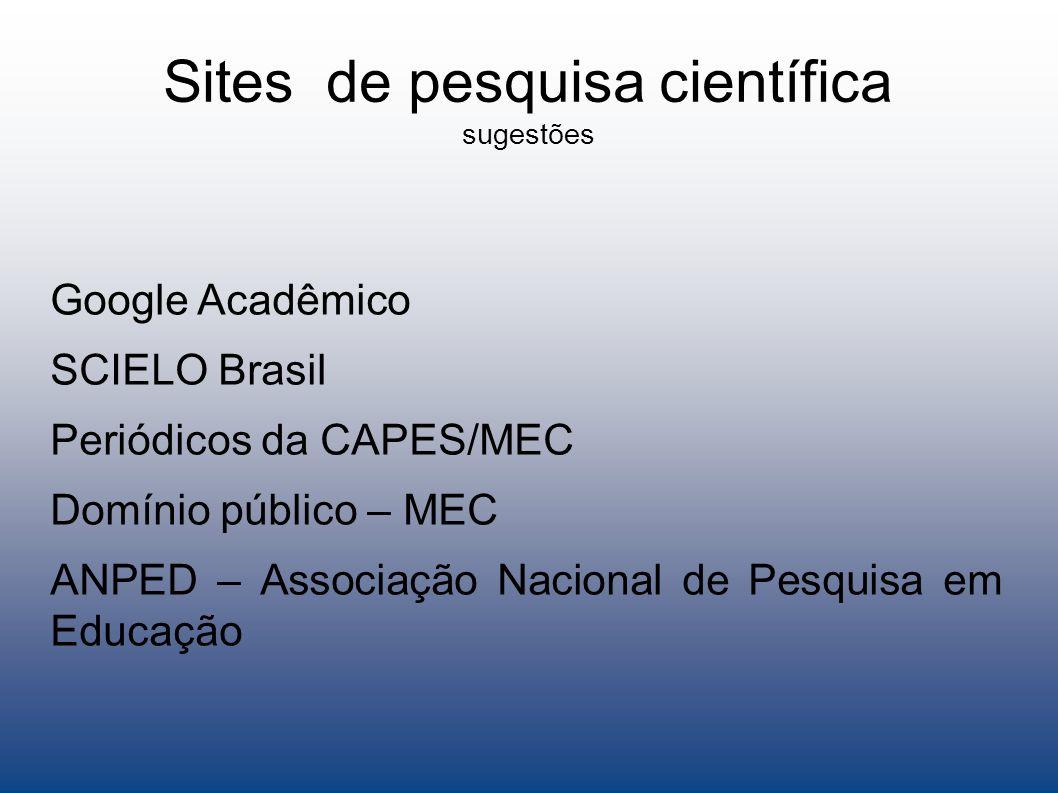 Sites de pesquisa científica sugestões
