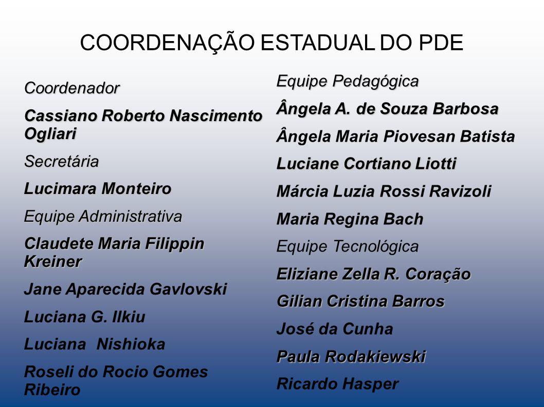 COORDENAÇÃO ESTADUAL DO PDE