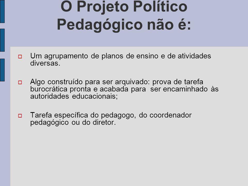 O Projeto Político Pedagógico não é: