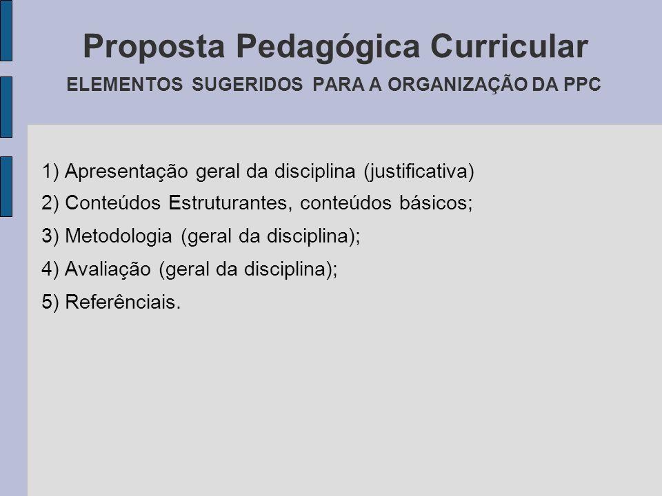 Proposta Pedagógica Curricular ELEMENTOS SUGERIDOS PARA A ORGANIZAÇÃO DA PPC