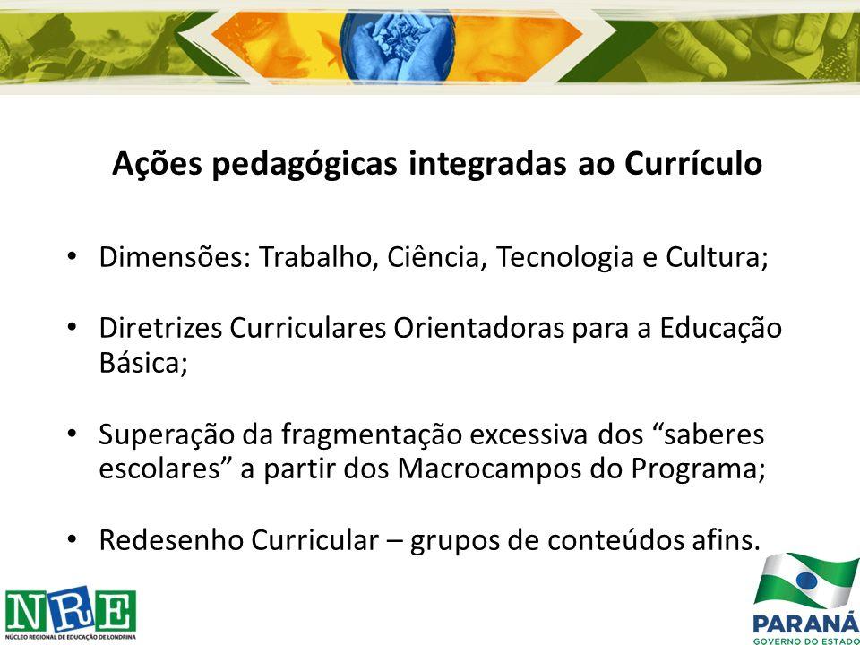 Ações pedagógicas integradas ao Currículo