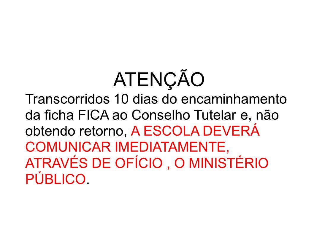 ATENÇÃO Transcorridos 10 dias do encaminhamento da ficha FICA ao Conselho Tutelar e, não. obtendo retorno, A ESCOLA DEVERÁ.