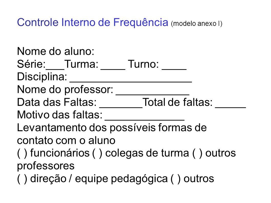 Controle Interno de Frequência (modelo anexo I)