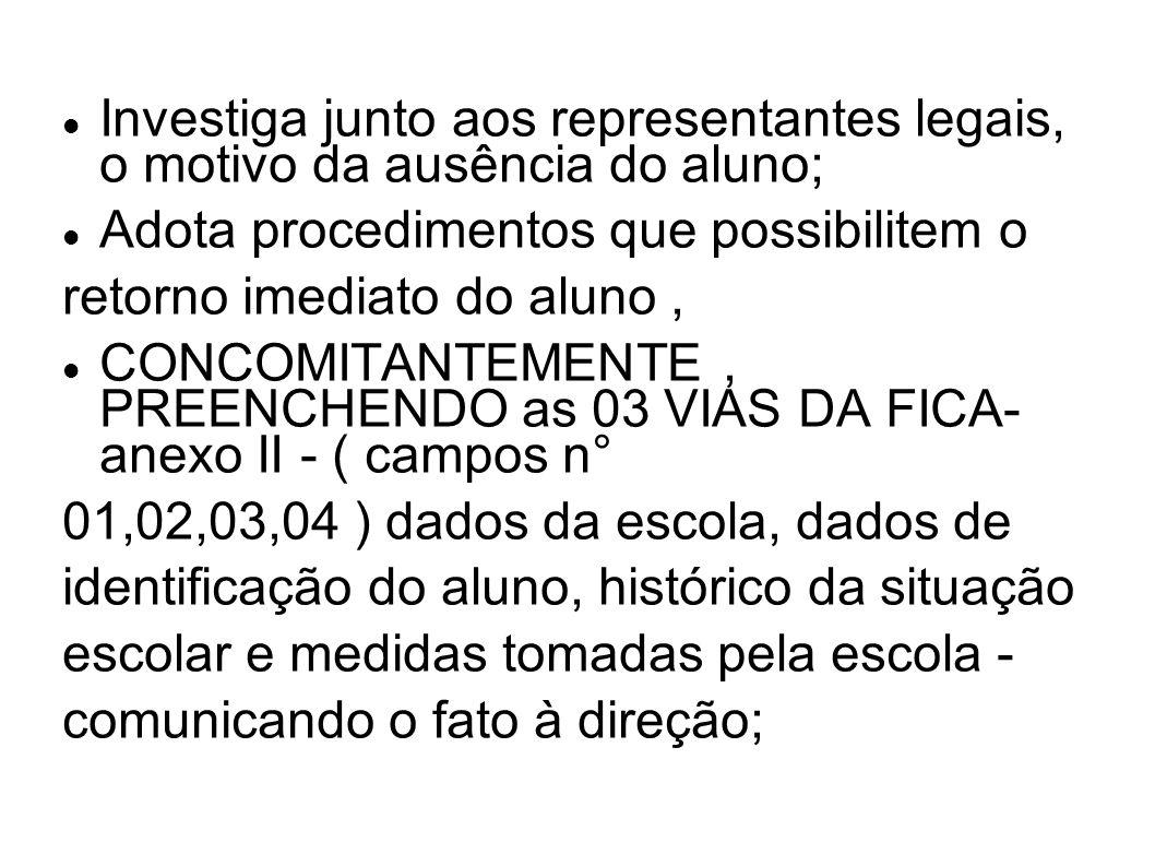 Investiga junto aos representantes legais, o motivo da ausência do aluno;