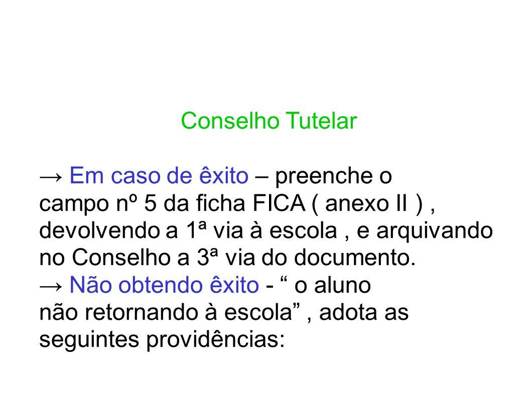 Conselho Tutelar → Em caso de êxito – preenche o. campo nº 5 da ficha FICA ( anexo II ) ,