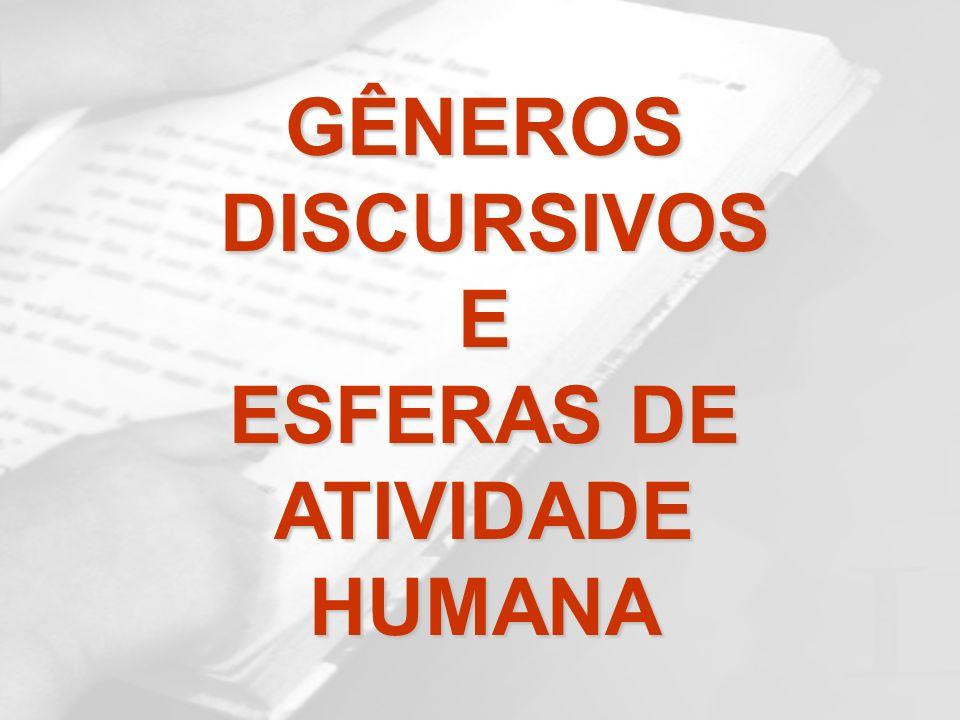 GÊNEROS DISCURSIVOS E ESFERAS DE ATIVIDADE HUMANA