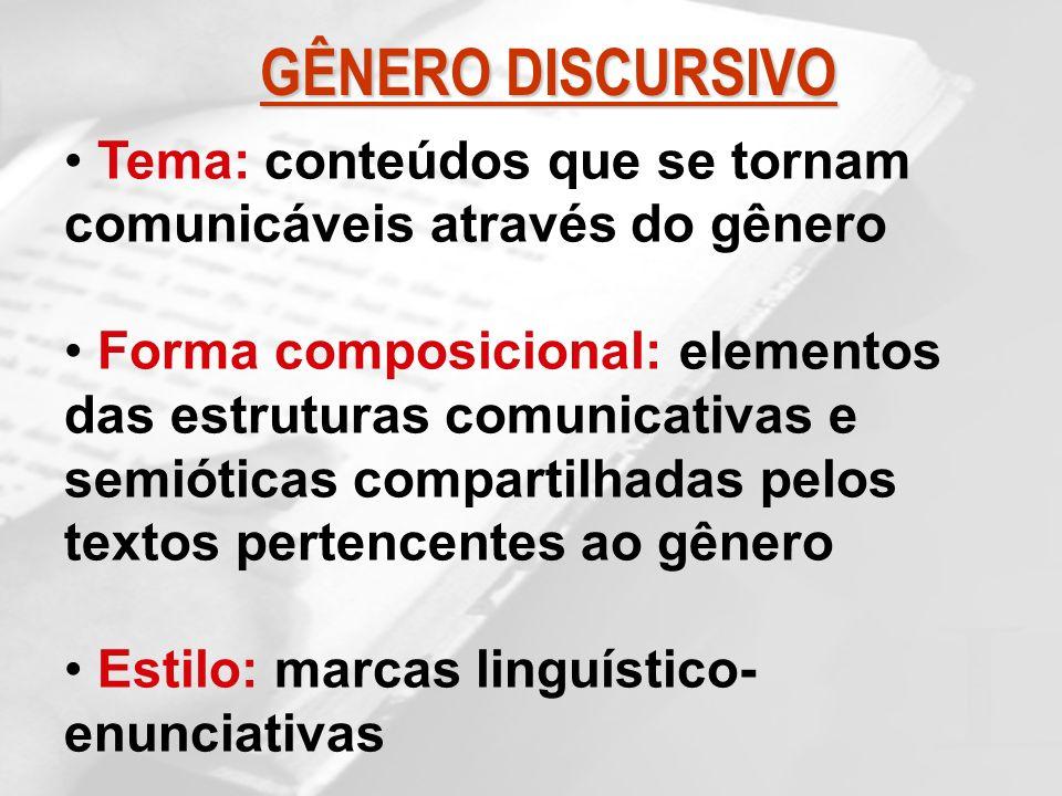 GÊNERO DISCURSIVOTema: conteúdos que se tornam comunicáveis através do gênero.
