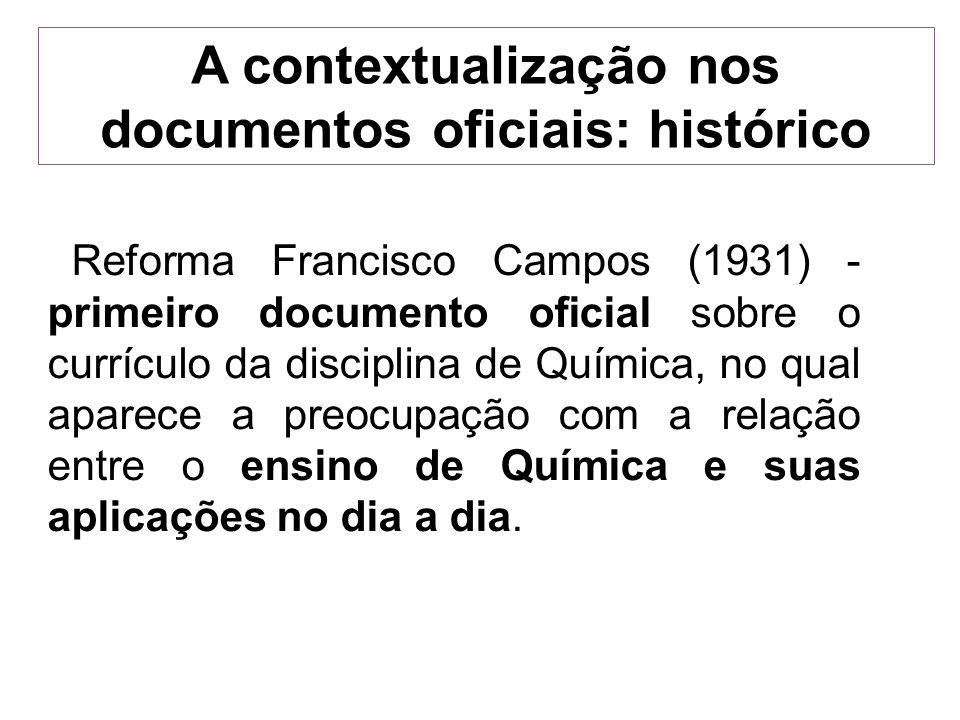 A contextualização nos documentos oficiais: histórico