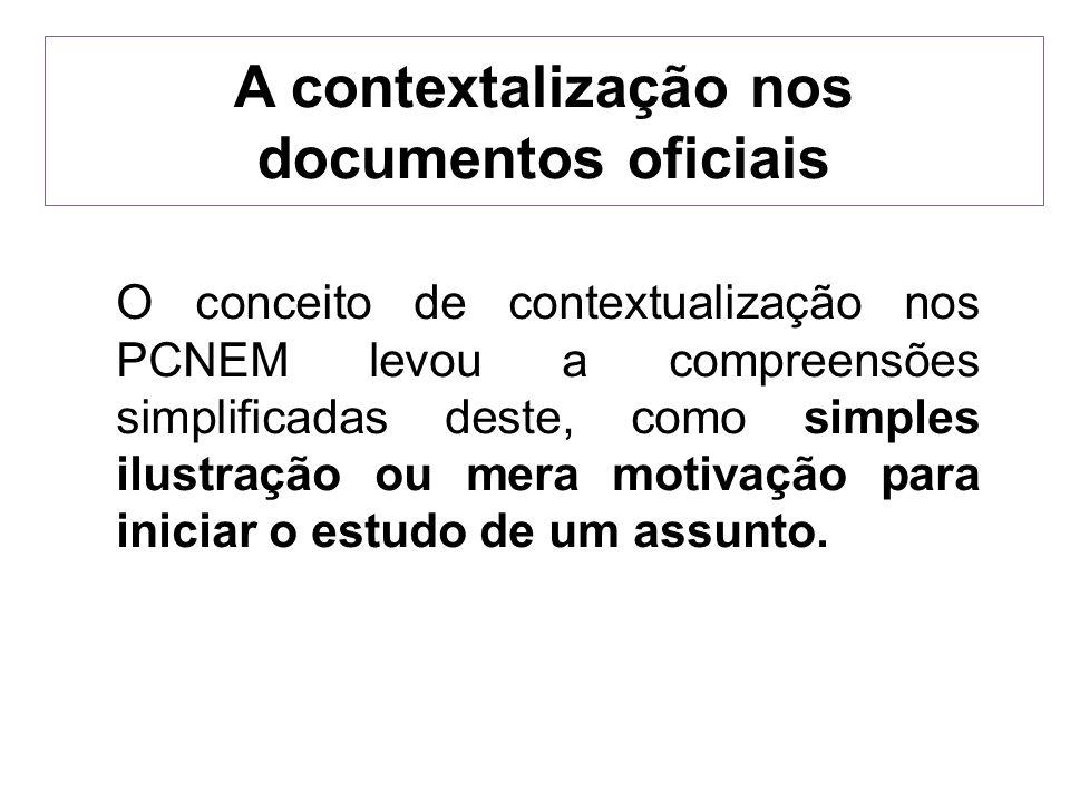 A contextalização nos documentos oficiais
