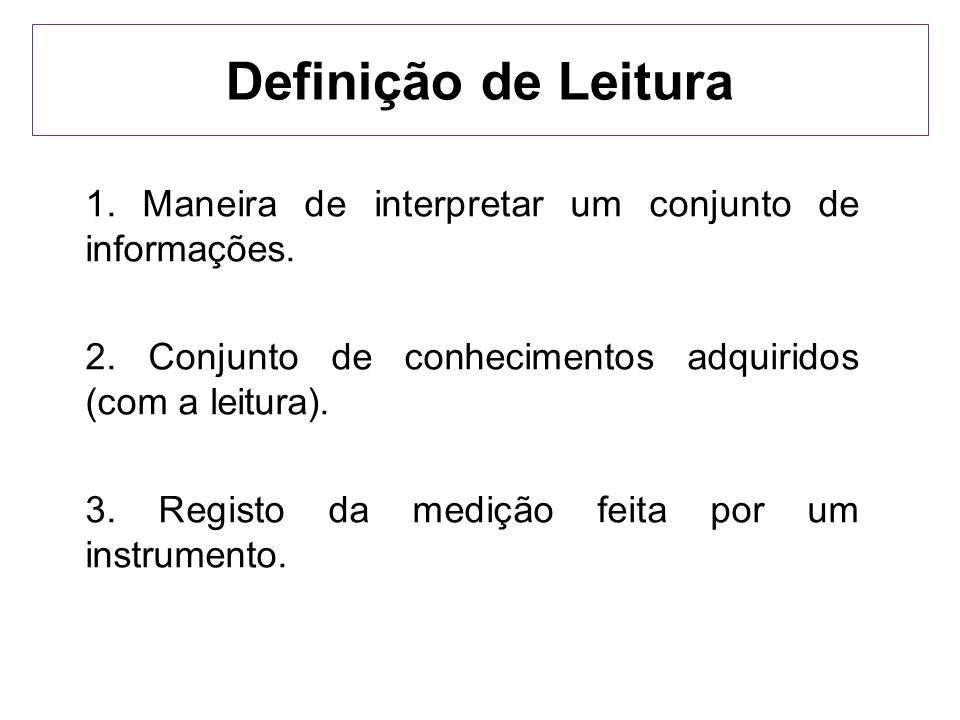 Definição de Leitura 1. Maneira de interpretar um conjunto de informações. 2. Conjunto de conhecimentos adquiridos (com a leitura).