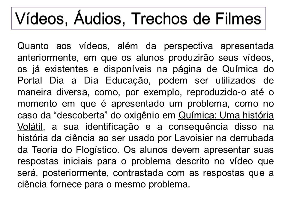 Vídeos, Áudios, Trechos de Filmes
