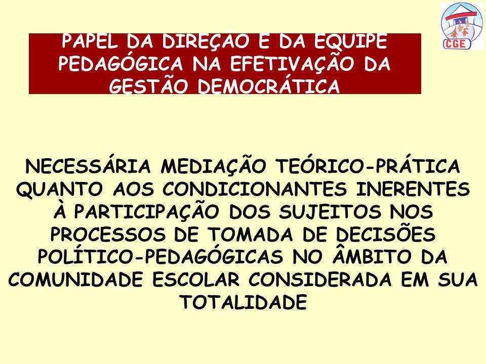 PAPEL DA DIREÇÃO E DA EQUIPE PEDAGÓGICA NA EFETIVAÇÃO DA GESTÃO DEMOCRÁTICA