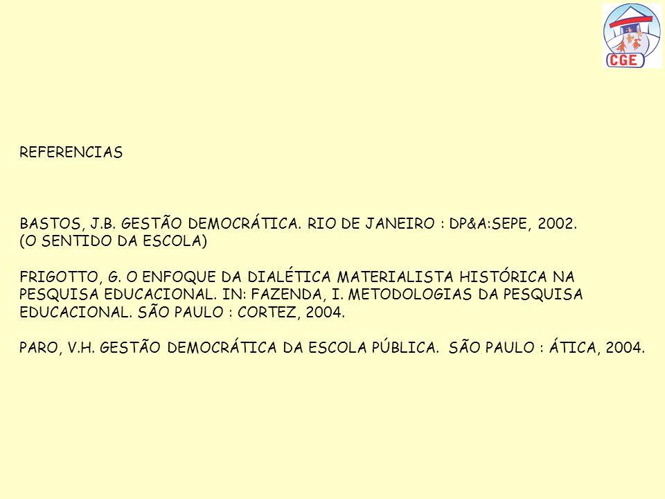 REFERENCIASBASTOS, J.B. GESTÃO DEMOCRÁTICA. RIO DE JANEIRO : DP&A:SEPE, 2002. (O SENTIDO DA ESCOLA)