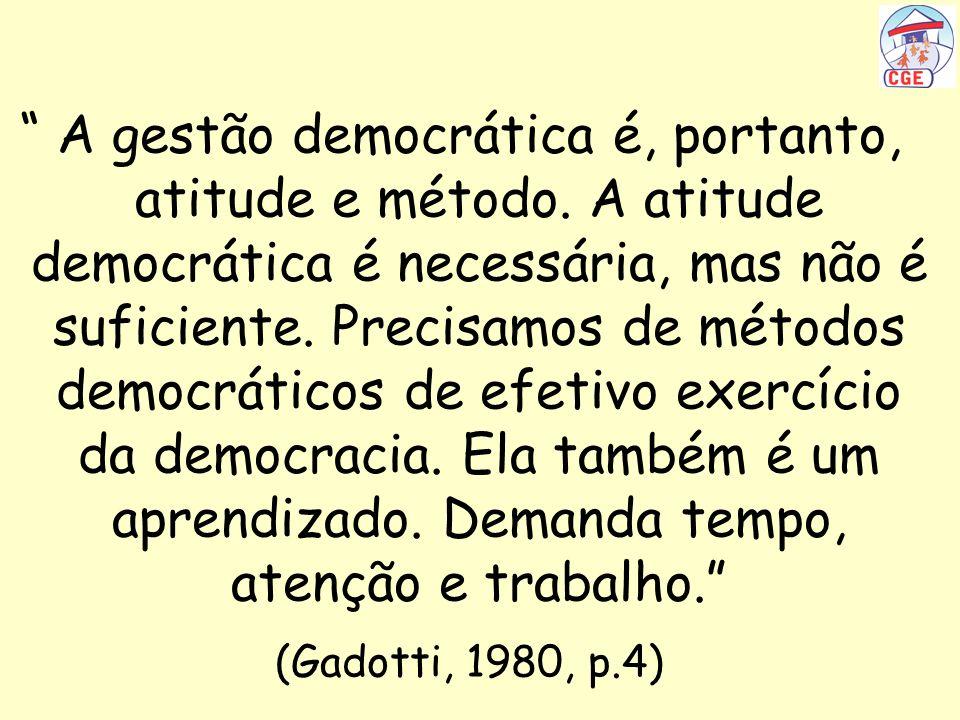 A gestão democrática é, portanto, atitude e método