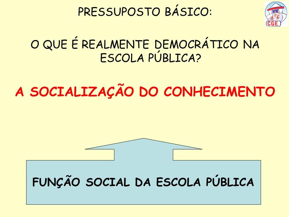 A SOCIALIZAÇÃO DO CONHECIMENTO FUNÇÃO SOCIAL DA ESCOLA PÚBLICA