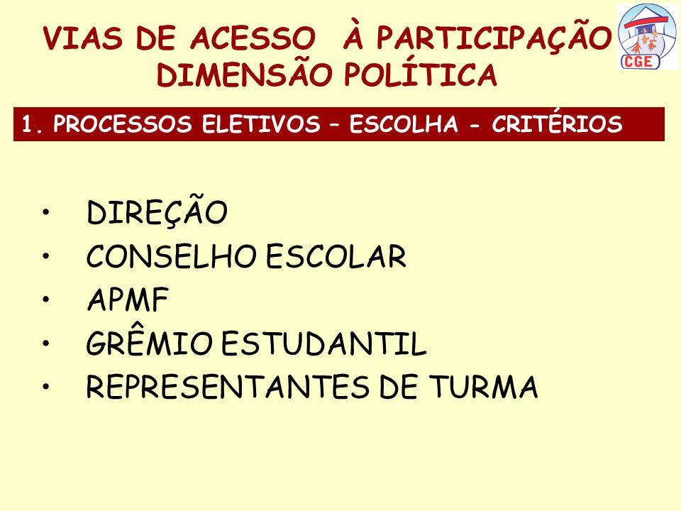 VIAS DE ACESSO À PARTICIPAÇÃO DIMENSÃO POLÍTICA